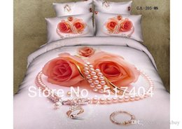 Wholesale Comforter Wedding Twill - Fashion red rose comforter sets,Cotton 4pc bedding set without the filler,500TC cotton rose wedding bedding stes bed sheet queen 071919