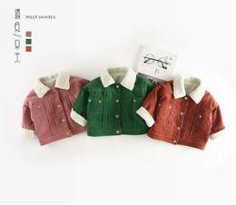 Wholesale Boys Corduroy Coats - Ins Newborn ruffle corduroy winter coat baby girls boys cute dog letter printed jacket coat toddler kids fleece thicken lapel outwear R1418