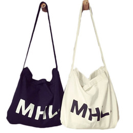 Wholesale Cotton Sling Bags - Wholesale-2015 Women Casual Letter MHL Print Canvas Handbags Female Denim Cotton Sling Bag Ladies Shoulder Bags Brand Reusable Bolsas