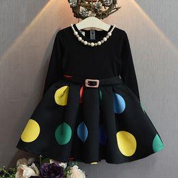 Wholesale Korean Children Party Dress - 2018 Korean news children autumn dress baby girl polka dot princess party dress with matching necklace