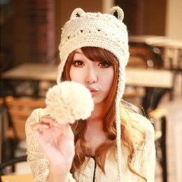 Wholesale Knitted Hats Ball Pattern - Wholesale-Free shipping new 2015 winter warm women fashion hat earflap cap Lovely cat ears knitted beanie patterns with wool ball
