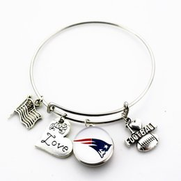 Wholesale Sports Team Jewelry - 10pcs lot New Football team sports ginger snap bracelet jewelry expandable adjustable wire hook diy bracelet&bangles