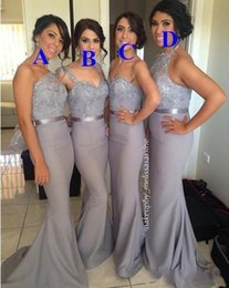 Wholesale Ordering Bridesmaid Dresses - 2017 Silver Long Bridesmaid Dresses Mixed Order Beads Vintage Lace with Taffeta Skirt Mermaid Spring Gray Maid of Honor Gowns Custom BO6556