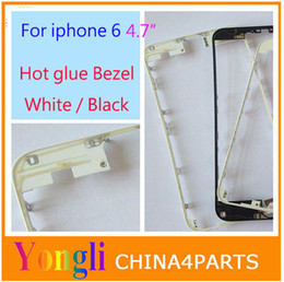 Wholesale Chrome Housing - Wholesale-50pcs Black White Front Bezel with hot glue for iPhone 6 4.7 inch LCD Middle Frame Housing Parts Chrome Screen Holder
