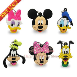 Wholesale Donald Duck Bag - Pingentes 4PCS Mickey Minnie Donald Duck keyrings pendants PVC Keychains Charms,cartoon figures toy Charms Accessories for mobile phone bags