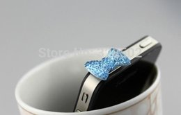 Wholesale Plugy Iphone - Free shipping 500pcs Rhinestone bow Earphone jack dust plug for iphone sumsang earphone jack plugy to phone accessories