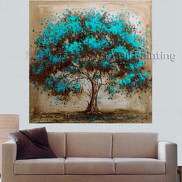Wholesale Modern Oil Painting Trees - Hand Made Oil Painting On Canvas Tree Red Flower Oil Painting Abstract Modern Canvas Wall Art Living Room Decor Picture