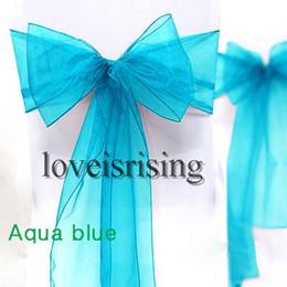 """Wholesale Wholesale Banquet Items - Hot item--50pcs Aqua Blue Color 8"""" (20cm) W x 108"""" (275cm) L Organza Chair Sashes Wedding Party Banquet Decor+Free Shipping"""