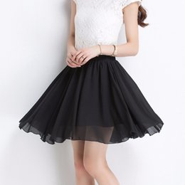 Wholesale Double Layer Chiffon Skirt - 2015 Summer Fashion Women Vintage Chiffon High Waist Pleated Skirts Double Layer Ladies Short Mini Skirts Women Short Skirts