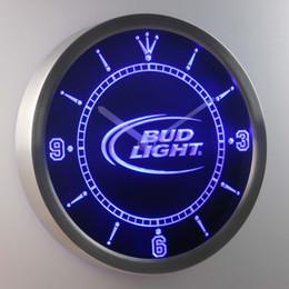 Wholesale Quartz Decor - nc0470 Bud Light LUMINOVA Neon Sign Bar Beer Decor LED Wall Clock Free Shipping Dropshipping Wholesale