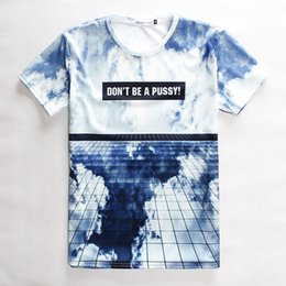 Wholesale Glass Pussy - FG1509 2015 Fashion Funny 3D t-shirt men women's 3D galaxy T shirt printed don't be a pussy white clouds blue sky glasses T-shirt tops