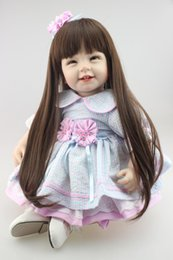 "Wholesale Reborn Vinyl Kit - Wholesale- 22"" Soft Silicone Reborn Baby Alive Vinyl Lifelike Newborn Girl Doll Kits for Women Nursery Treats Kids Gift Long Hair Toy"
