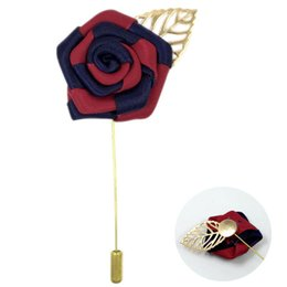Wholesale Mens Wedding Suit Flowers - 2016 Hot Fashion Summer Jewelry Korea Brooches Mens Lapel Flower Pins Vintage Gold Silver Wedding Brooch Mens Suit Accessories