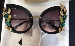 mariposa italiana Rebajas 4293 Gafas de sol de moda Estilo Barroco Marco de ojo de gato Mujeres Diseñador de la marca Gafas de sol Marco de mariposa chapado en oro de diseñador italiano con estuche