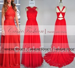 Wholesale Gold Halter Pleated Dress - 2016 Rihanna Grammys Red Carpet Celebrity Dresses Criss Cross Halter Backless Evening Party Prom Plus Size Gowns 55th Grammy Awards