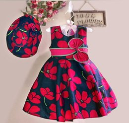 Wholesale summer flower dresses children beach - Wholesale - Girls Summer Dress Girls Dress+ Hat Red Flower Print Bow Party Pageant Beach Princess Lovely Children Clothes 5p l