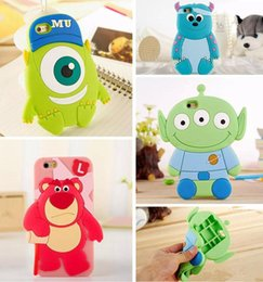 Wholesale Cute Aliens - 3D Cute Bear Monsters Inc Sulley One Eye Mike Wazowski Three Eyes Alien Soft Silicone Rubber Case for iPhone 5 5S 6 6S Plus 6plus iPhone6
