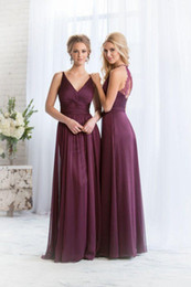 Wholesale Cheap Flower Printed Wedding Dresses - Cheap 2015 Bridesmaid Dresses Plum V Neck Chiffon Long Maid of Honor Dress Plus Size Chiffon China High Quality Wedding Hot Bridesmaid Gowns