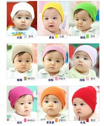 Wholesale Knit Cloche - 12pcs Baby Caps Cloches Children's Hats New solid color newborn baby cotton candy baotou hat sets infant children hat knitting hat wholesale