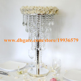 Wholesale Tier Silver Plate - 5 tier H100cm Hanging Acrylic Crystal beaded Wedding Table Chandelier & centerpiece with stand