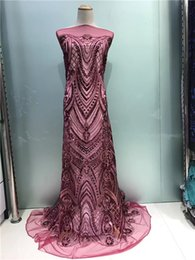 Wholesale Purple Voile African Lace - 2017 Purple African Lace Fabric With Sequins French Nigerian Mesh Tulle Embroidered Guipure wine, red Lace Swiss Voile Lace In Switzerland