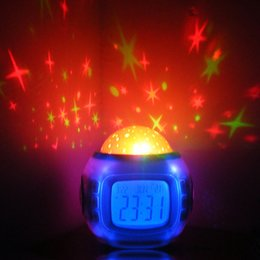 Wholesale Projector Clock Thermometer - NEW LED Colorful Music Starry Star Sky Projection projector with Alarm Clock Calendar Thermometer Christmas Gift