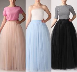 Wholesale Tulle Adult Skirt Xl - Fashion Simple Women Skirts All Colors 5 layer Floor Length 2015 Adult Long Tutu Tulle Skirt A Line Plus Size Free Shipping Long Skirts