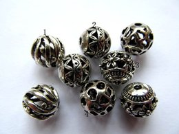 Wholesale Metal Earring Findings - 8 10 12mm 100pcs wholesale bulk vitiage basketball Bail filigree finding metal round ball charm earring jewelry finding beaded