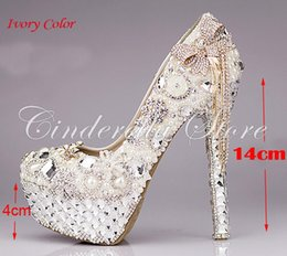 Wholesale Wedding Shoes Ivory Pearls - Luxurious Bowtie Rhinestone Ultra High Heel Shoes Pearl Crystals Wedding Dress Shoes Beautiful Shoes for Bride