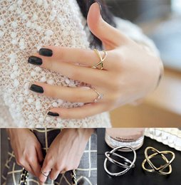 Wholesale Buy Silver Plate - New Latest Fashion Mad Rush To Buy Ring Jewelry Finger Tiara Ring Jewellry Accessories X 3D Midi Finger Rings Golden Silver Plated Jewellry