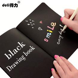 Wholesale A5 Journal - deli A4 A5 black Sketch black paper Stationery Notepad Sketch Book For Painting Drawing Diary Journal Creative Notebook Gift