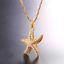 Wholesale White Gold Starfish Pendant - U7 Jewelry Starfish Necklace 18K Gold Platinum Plated & Cubic Zirconia Sea Stars Ocean Jewelry Starfish Charm Party Gift For Women P2652