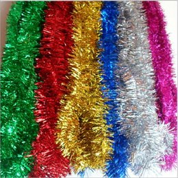 Wholesale wholesale christmas tinsel garland - NEW Christmas Tree Tinsel 2 Meters Long Party New Year Christmas Decoration Ornaments Multicolor Color bar garlands Festive Party Suppliers