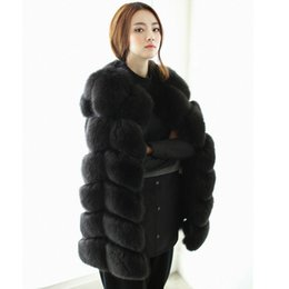 Wholesale Rabbit Fur Coat Black - In Stock White Black Winter Women Real Knitted Rabbit Fur Vest Plus Size Real Natural Rabbit Fur Coat Jackets Long Colete Feminino