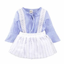 Wholesale Trumpet Sets - Ins Princess Baby Girls Clothing Sets Summer Sleeveless Tops and Tutu Seqiun Lace Mini Skirt 2Pcs Party Girls Outfits 2-7Y