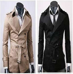 Wholesale Mens Black Xxl Trench Coat - Fashion Brand Trench Coat Men 2015 Europe America Style Double-Breasted Mens Coats And Jackets 3 color Size M-XXL new arrive !!!dorp ship