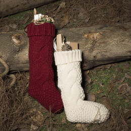 Wholesale Boot Decorations - Christmas Santa Claus Knitted Socks Boot Candy Gift Bag Christmas Stockings Socks Tree Hanging Decor OOA3657