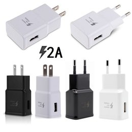Wholesale Black Charger Adapter Ac - Universal 5V 2A Real Capacity US Eu White Black Ac home travel wall charger power adapter for samsung s6 s7 s8 note 8 iphone android phone