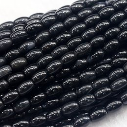 "Wholesale Rice Oval Beads - Discount Wholesale Natural Genuine Black Agate Rice Shape Oval Loose Beads 4-12mm Fit Jewelry DIY Necklace or Bracelets 16"" 03844"