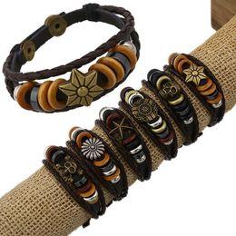 Wholesale Free Handmade Christmas Gifts - 12Pcs Lot Retro Men Handmade Various Charm Genuine Leather Adjustable Bracelet Wristband Jewelry Unisex Men Women Free Shipping