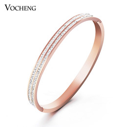 Wholesale Pretty Tops - Non-fading Brand Design Bangles Brand Design Top Quality Pretty Lady Stainless Steel With CZ Stones (VG-013) Vocheng Jewelry