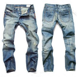 american style jeans for men Coupons - Fashion Men Jeans Mens Slim Casual Pants Elastic Trousers Light Blue Fit Loose Cotton Denim Brand Jeans For Male