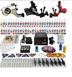 Wholesale Complete Professional Rotary Tattoo Kits - Factory Complete Tattoo Kit 3 Pro Rotary Machine Guns 54 Inks Power Supply Needle Grips TK355
