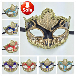 Wholesale Party Eye Mask Red Black - Luxury Party Masks gold sexy lace Woman Mask Carnival Mardi Gras Costume Dance Eye Mask Venetian Masquerade ball decoration wedding gift