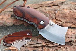 Wholesale Mini Pocket Folders - Gift Knife Wood Handle Mini Folder Knife 5Cr15Mov 56-57HRC Tanto Point Blade EDC Folding Pocket Knives Outdoor Tool D244Q
