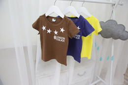 Wholesale Top Designer Baby Girl Clothes - Wholesale-summer style children's clothing baby boys cartoon pattern round neck short sleeved T-shirts girl designer brand top
