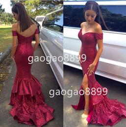 2019 nouvelle mode rose chaud Bourgogne paillettes hors épaule sirène arabe occasion robes avec fente plus la taille trompette volants robes de soirée ? partir de fabricateur