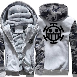 Wholesale Trafalgar Law Hoodies - New Winter Warm One Piece Hoodies Anime Trafalgar Law Q Hooded Coat Thick Zipper men casual cardigan Jacket Sweatshirt