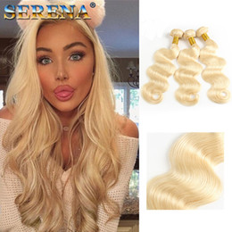 Wholesale Mongolian Russian Mix - Brazilian Body Wave Hair Weaves Tissage Double Wefts Peruvian Blonde Bundles 613 Russian Blonde Color Can be Dyed Human Remy Hair Extensions