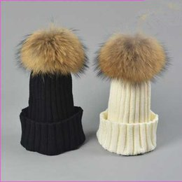 Wholesale Free Real Dogs - Designer Ladies Knitted Rib Beanies With Real Raccoon Dog Hair Ball(Diameter 15cm) Womens Fancy Plain Fur Pom Winter Hats Skull Slouchy Cap